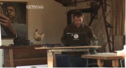 Nick hard at work in the retired turkey barn turned CropMobster™ office (image sourced from CCTV News)